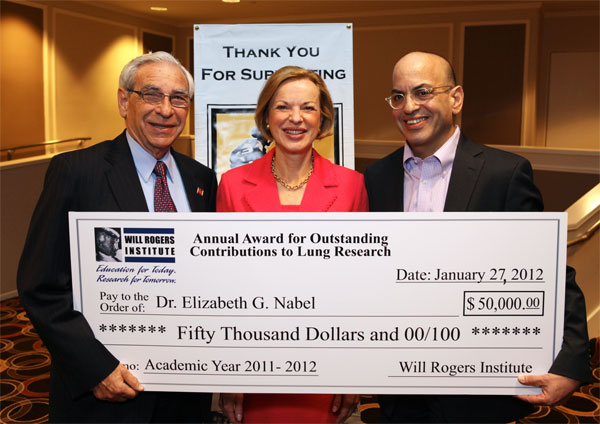 In photo (L to R): Dr. Edward Crandall, medical advisor WRI; Dr. Elizabeth G. Nabel; Jeffrey Goldstein, chairman WRI.